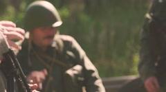 Talking soldier is getting focused Stock Footage
