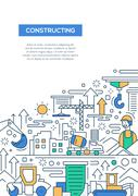 Constructing - line design brochure poster template A4 Stock Illustration