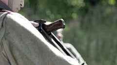 Closeups of soldiers rifles Stock Footage