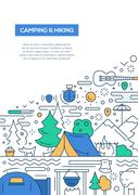 Camping and Hiking - line design brochure poster template A4 Stock Illustration