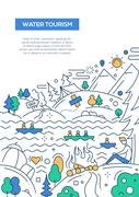 Water Tourism - line design brochure poster template A4 Stock Illustration