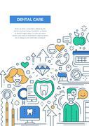 Dental Care - line design brochure poster template A4 Stock Illustration