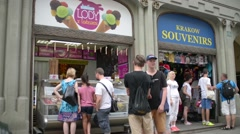 People in line for Showcase with different varieties of ice cream Stock Footage