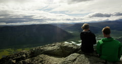 Hiking in Sarek view over Rapadalen. Stock Footage