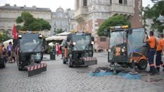 Street Cleaning Washing Machines on Market Square Krakow Poland Stock Footage