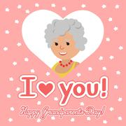 Vector illustration. Happy grandparents day. Elderly woman in heart with Stock Illustration
