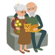 Happy senior man woman family sitting on the sofa with cat. Vector illustration Stock Illustration