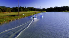 Wakeboarder Shredding in Wake Cable Park Stock Footage