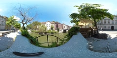 360 view from the Ljubljanica river Stock Footage