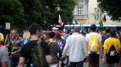 Croud of Pedestrians on the streets of Krakow Old Town - World Youth Days Stock Footage
