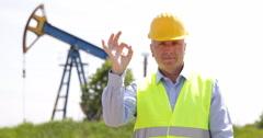 Good Job Best Result Gesture Confident Technician Pump Platform Oil Industry Stock Footage