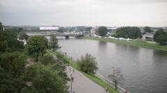 Krakow Wisla River - view from the castle of Wawel mountain Stock Footage