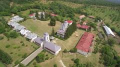 Aeral view of Ciolanu Monastery, Buzau County - Romania Stock Footage