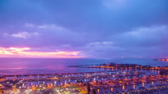 Time Lapse- Beautiful Sunset at the Pier and above the Sea Stock Footage