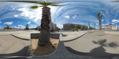 360 view from traffic around Reloj del Puerto Stock Footage