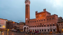 Time-lapse of Campo Square at sunset in Siena, Italy Stock Footage