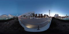 360 view from the City of Arts and Sciences in Valencia Stock Footage