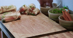 Rolling Fresh Spring Rolls Stock Footage
