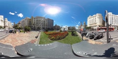 360 view from Plaça de l'Ajuntament in Valencia Stock Footage
