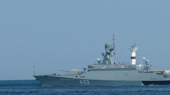 Modern small Russian missile boat with rockets caliber goes to sea Stock Footage