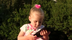 Positive Emotional Little Girl Touch The Tablet Stock Footage