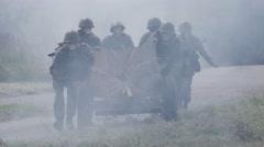 A n Anti Tank Gun is moved forward Stock Footage