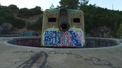 Osmo  coast artillery with graffiti- Outao Portugal 24 Stock Footage
