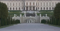 Belvedere garden with pyramids of trees and sculptures Stock Footage