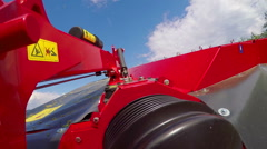 Big machine for grass cutting Stock Footage