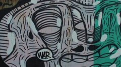 Coast artillery with graffiti Stock Footage