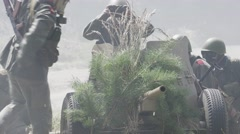 Anti Tank Gun Crew is waiting for firing order Stock Footage