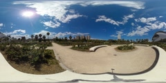 360 view from Turia gardens and the Berklee College of Music Stock Footage