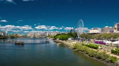 Timelapse of Southbank Parklands and the Brisbane Wheel, Brisbane river Stock Footage