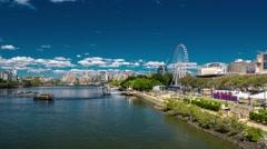 Timelapse of Southbank Parklands and the Brisbane Wheel, Brisbane river Stock Footage