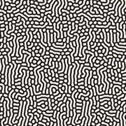 Vector Seamless Black and White Organic Lines Pattern Stock Illustration