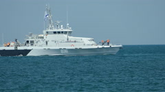 Russian coast guard boat and a submarine Stock Footage
