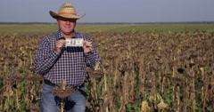 Farm Owner Wealthy Agronomist Farmer Man Prosperity Show American Dollars USD Stock Footage