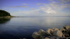 Calm Evening Sea View from Pier Pan Right Stock Footage