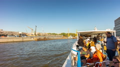 Day moscow river tourist boat city construction panorama 4k time lapse russia Stock Footage