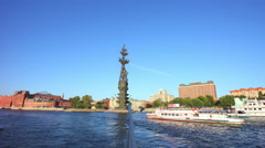 Day moscow river boat ride peter the great statue panorama 4k time lapse russia Stock Footage