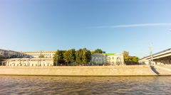 Day moscow river passenger boat ride city side panorama 4k time lapse russia Stock Footage