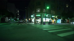 4K Driving Plates LA Downtown Night 01 Rear View 7th St make U turn at Olive  Stock Footage