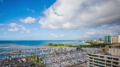 Time Lapse - Rainbows with Clouds at the Harbor Honolulu, Hawaii Stock Footage