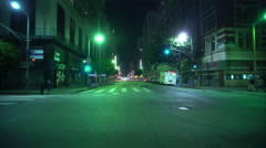4K Driving Plates LA Downtown Night 02 Rear View 7th at Olive St Pershing Squ Stock Footage