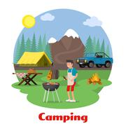 Camping and outdoor recreation concept Stock Illustration
