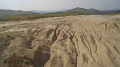 Aeral view of Berca mud volcanoes from Buzau - Romania Stock Footage