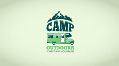 Video camp logo with mini van and mountains Stock Footage