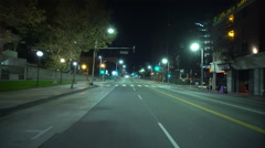4K Driving Plates LA Downtown Night 03 Rear View Hill St at 2nd St Stock Footage