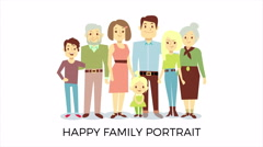 Happy family animated portrait Stock Footage