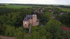 Aerial of small castle in Holland Stock Footage
